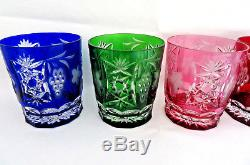 5 Pc. Ajka Crystal Hungary MARSALA Cut to Clear Cased Double Old Fashioned XLNT