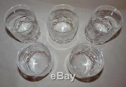 5 Tiffany Rock Cut Crystal Double Old Fashioned Glasses, Germany, Marked, Exc