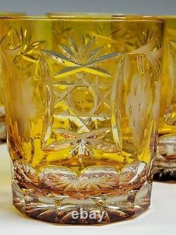 6 AJKA MARSALA Amber Cut to Clear Crystal Double Old Fashioned Tumblers Glasses
