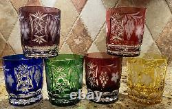 6 AJKA MARSALA Cut to Clear Crystal Double Old Fashioned Tumblers Glasses Multi