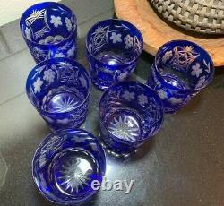 6 Ajka Marsala Cobalt Blue 4 Double Old Fashioned Glasses Pristine