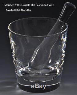 6 NEW in BOX STEUBEN DOUBLE OLD FASHIONED GLASSES & BASEBALL BAT Muddler MCM