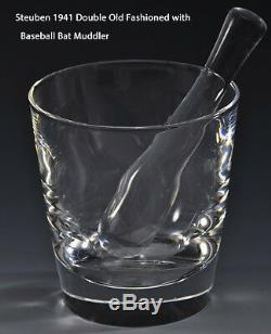 6 NEW in BOX STEUBEN DOUBLE OLD FASHIONED GLASSES & BASEBALL BAT Muddler MCM art