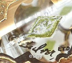 6 SIGNED CULVER VALENCIA GLASSES PRE-1969 DOUBLE OLD FASHIONED GOLD GREEN 12 oz