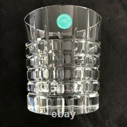 6- Tiffany Crystal Glasses Double Old Fashioned Plaid Tumbler New In Box #86g