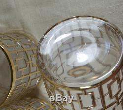 6 Vintage Imperial Shoji Trellis Double Old Fashioned Glasses MID Century