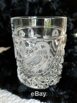 6 Vtg Hofbauer The Byrds Double Old Fashioned Lead Crystal Glass Birds MINT