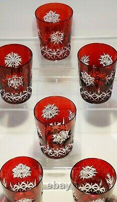 6 Waterford Crystal Snow Crystal Double Old Fashioned Glasses Ruby Red 4 3/8