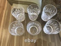 (6) Waterford Lismore Double Old Fashioned Glasses 4 3/8 x 3 1/2