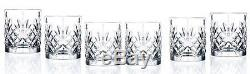 6-piece Double Old Fashioned Crystal Glasses Set Cut from Real Crystal in Italy