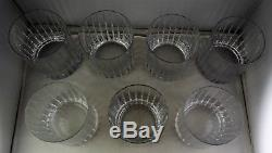 7 Double Old Fashioned Tumblers Bar Glasses Vertical Cuts Straight Sides Nice
