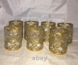 (7) IMPERIAL GLASS El Tabique de Oro GOLD Double Old Fashioned Whiskey Tumbler