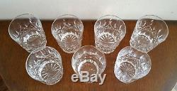 7 Vintage Waterford Crystal Lismore Double Old Fashioned Fashion Glasses Tumbler