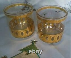 8 Culver Antigua Double Old Fashioned 22K Gold Signed Mid Century Modern Barware