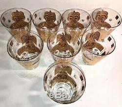 8-Mid Century Modern George Briard Gold Fruit Glasses Double Old Fashioned set