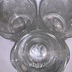 8 Ralph Lauren Crystal Double Old Fashioned Lion Crest Glasses Safari Argyle EUC