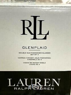 (8) Ralph Lauren GLEN PLAID Double Old Fashioned Glasses 11.8 oz. NEW IN BOX