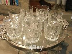 8 SIGNED RARE Star of Edinburgh Crystal Double Old Fashioned Whisky glasses MINT