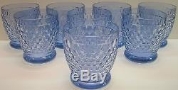 8 Villeroy & Boch Crystal Boston Blue 12 Ounce Double Old Fashioned DOF Tumbler