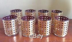 8 Vintage 1960s Georges Briard Gold Cane Patio Rose Double Old Fashioned Glasses