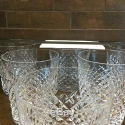 8 Waterford Crystal Alana Double Old Fashioned Tumbler Glasses Vintage, EUC
