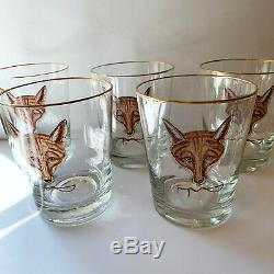 Abercrombie & Fitch x5 Fox Double Old Fashioned Glasses Cyril Gorainoff Vtg