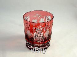 Ajka Crystal Marsala Cranberry DOF Double Old Fashioned Glasses Tumblers