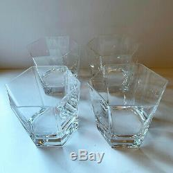 Arnolfo Di Cambio x4 Hexagonal Double Old Fashioned Crystal Bar Glasses Vintage