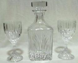 Baccarat Massena Crystalline Square Decanter & Double Old Fashioned Bar Set