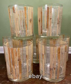 Bamboo Tiki Double Old Fashioned Rocks Glasses Cera Vtg Neiman Marcus Barware