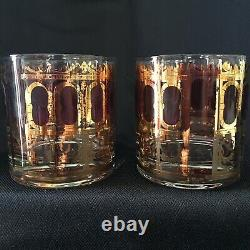 Culver Cranberry Azure Scroll Double Old Fashioned Glasses Set Of Six