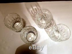 EXCELLENT Waterford Crystal ARAGLIN (1987-) Set 4 Double Old Fashioned 4 1/4