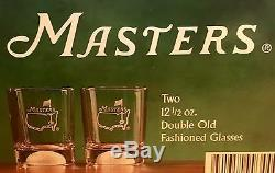 FOUR (4) Masters Golf Double Old Fashioned Glasses, Augusta National