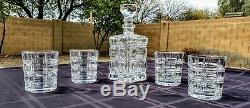 Fine Crystal Decanter and 4 Waterford Double Old Fashioned Glasses Brilliant