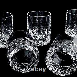 Five Tiffany & Co. Crystal Rock Cut Double Old-Fashioned Crystal Glasses