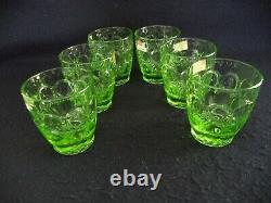 Fostoria crystal Moonstone 6 double old-fashioned tumblers 12oz Apple Green'70s