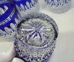 Four Waterford Crystal Clarendon Cobalt Blue Double Old Fashioned Glass Tumblers