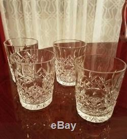 GORGEOUS Waterford Lismore 12 oz Double Old Fashioned Drink Glasses Set of 4
