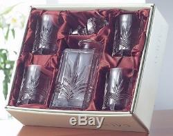 Galway Crystal Kells Square Decanter & 4 Double Old Fashioned Tumblers RRP 140