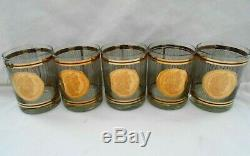 Georges Briard 5 Double Old Fashioned Glasses Gold Icicle withGreek Gold Coin w1s5