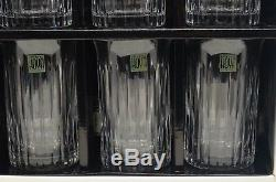 HOYA Crystal Set Of 6 TUMBLER DOUBLE OLD FASHIONED GLASSES Silver Strings IN BOX