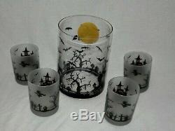 Halloween Pitcher, Ice Bucket & Culver Double Old Fashioned Glasses set NEW