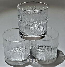 Iittala Set of 3 Niva Double Old Fashioned Glasses Tapio Wirkkala MCM Finland