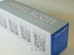 James Scott Double Old Fashioned Crystal Drinking Glasses Set Irish Cut Desig