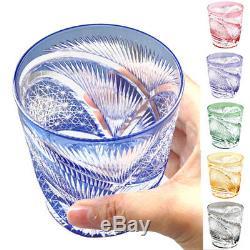 Japanese Edo Kiriko Crystal Double Old Fashioned Glass, Cut Glass Hisho Skyward
