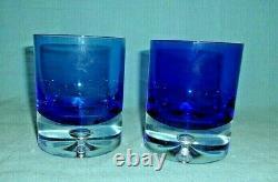 Krosno Block Stockholm Cobalt Blue Double Old Fashioned Glass With Bubble 4 PCS