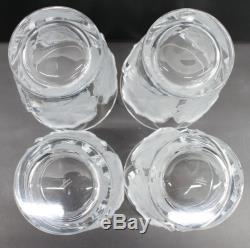LALIQUE Chene Oak Leaf Double Old Fashioned Vintage 4.75 Tumblers Glasses 4x