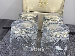 LENOX Charleston Pattern Double Old Fashioned Whiskey Crystal Glasses Set of 4