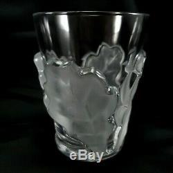 Lalique Chene Double Old Fashioned Glass Whiskey 4-3/4 Oak Leaf