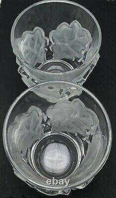 Lalique Chene Double Old Fashioned Glass Whiskey 4-3/4 Oak Leaf Pair